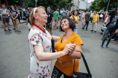 Acción de la protesta de los representantes del circo Foto de archivo libre de regalías