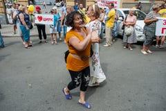 Acción de la protesta de los representantes del circo Foto de archivo