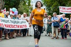 Acción de la protesta de los representantes del circo Imagen de archivo libre de regalías