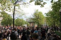 Acción de la protesta de Okkupay Abay contra Fotografía de archivo