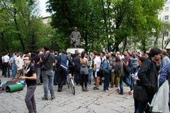 Acción de la protesta de Okkupay Abay contra Fotografía de archivo libre de regalías