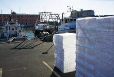 Acción de las cajas plásticas para los pescados frescos en un puerto pesquero en Italia del sur Foto de archivo libre de regalías