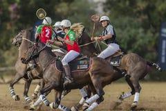 Acción de los jinetes de las mujeres de la Polo-cruz Foto de archivo