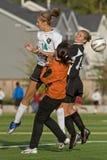 Acción de los jugadores de fútbol Fotografía de archivo