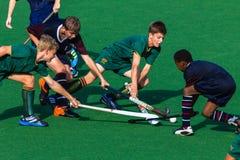 Acción de los muchachos del hockey Fotografía de archivo libre de regalías