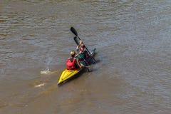 Acción de los rápidos de los Paddlers de la raza de la canoa Fotografía de archivo libre de regalías