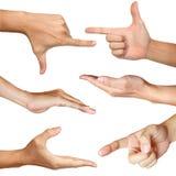 Acción de seis manos con el camino de recortes Imagen de archivo libre de regalías