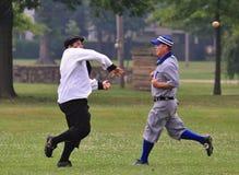Acción del béisbol Fotografía de archivo libre de regalías