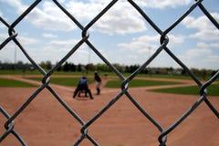 Acción del béisbol con las conexiones Imagen de archivo