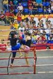 Acción del boxeo de retroceso de las mujeres Foto de archivo