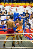 Acción del boxeo de retroceso de los hombres Fotos de archivo