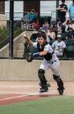 Acción del colector del béisbol Foto de archivo