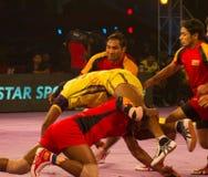 Acción del deporte de Kabaddi Imagen de archivo libre de regalías