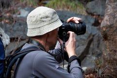 Acción del fotógrafo en el bosque del pino de Chipre Fotografía de archivo libre de regalías