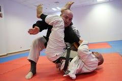 Acción del judo - técnica de la presentación Fotografía de archivo