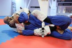 Acción del judo - técnica de la presentación Fotos de archivo libres de regalías
