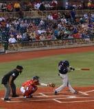 Acción del juego de béisbol Fotografía de archivo libre de regalías