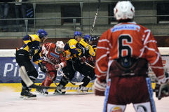 Acción del juego de hockey Foto de archivo libre de regalías