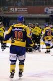 Acción del juego de hockey Fotografía de archivo libre de regalías