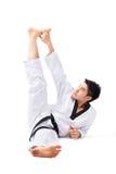 Acción del Taekwondo Fotos de archivo