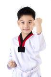 Acción del Taekwondo de un muchacho lindo asiático Foto de archivo