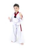 Acción del Taekwondo de un muchacho lindo asiático Imagen de archivo libre de regalías