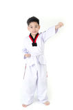 Acción del Taekwondo de un muchacho lindo asiático Fotografía de archivo