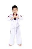 Acción del Taekwondo de un muchacho lindo asiático Imágenes de archivo libres de regalías