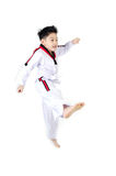 Acción del Taekwondo de un muchacho lindo asiático Foto de archivo libre de regalías