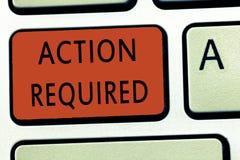 Acción del texto de la escritura de la palabra requerida Concepto del negocio para el respeto una acción alguien en virtud de su  fotos de archivo