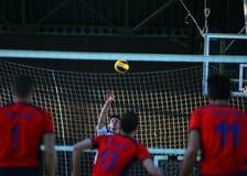 Acción del voleibol Fotos de archivo libres de regalías