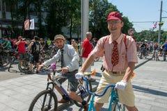 Acción dentro del día ucraniano de la bicicleta en Járkov Foto de archivo