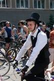 Acción dentro del día ucraniano de la bicicleta en Járkov Fotos de archivo libres de regalías