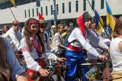 Acción dentro del día ucraniano de la bicicleta en Járkov Ucrania Imágenes de archivo libres de regalías