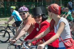 Acción dentro del día ucraniano de la bicicleta en Járkov Ucrania Fotos de archivo libres de regalías