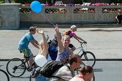 Acción dentro del día ucraniano de la bicicleta en Járkov Ucrania Fotos de archivo