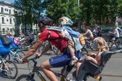 Acción dentro del día ucraniano de la bicicleta en Járkov Ucrania Fotografía de archivo libre de regalías