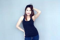 acción divertida de la señora asiática Fotografía de archivo libre de regalías