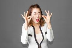 acción divertida de la señora asiática Foto de archivo