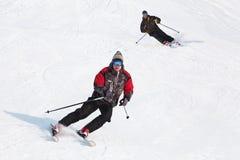 Acción en nieve del polvo Imagenes de archivo