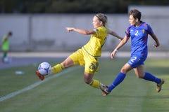 Acción femenina del partido de fútbol Imagen de archivo