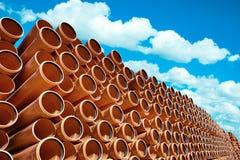 Acción industrial anaranjada del pvc de los tubos Foto de archivo libre de regalías