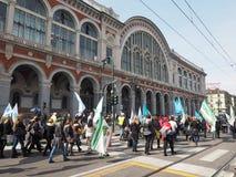 Acción industrial en la estación de Porta Nuova en Turín Fotografía de archivo