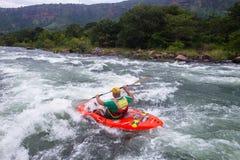 Acción Kayaking del río Fotografía de archivo