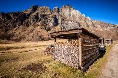 Acción para arriba en la leña en montaña Imagen de archivo libre de regalías