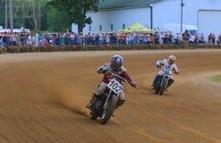 Acción plana de la raza de la motocicleta de la pista Imagen de archivo