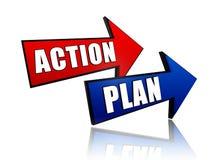 Acción y plan en flechas Foto de archivo