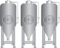 Acciaio inossidabile degli impianti per la fermentazione della birra fotografia stock libera da diritti