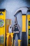 Acciaio livellato di sharp delle pinze del martello da carpentiere della costruzione Fotografia Stock Libera da Diritti