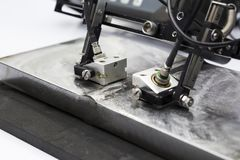 acciaio ultrasonico della saldatura di prova della sonda immagini stock libere da diritti